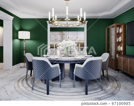 Luxurious dining room in a large house, with a 67100985