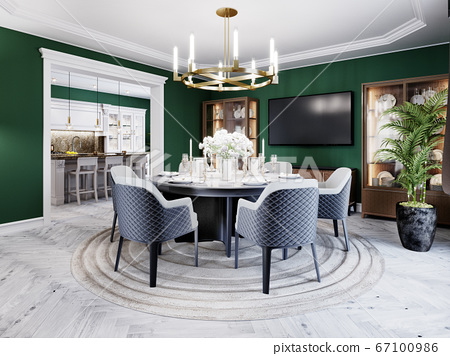 Luxurious dining room in a large house, with a 67100986