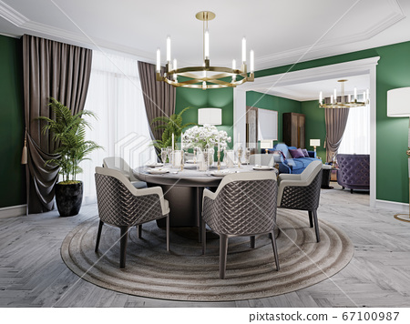 Luxurious dining room in a large house, with a 67100987