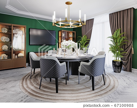 Luxurious dining room in a large house, with a 67100988