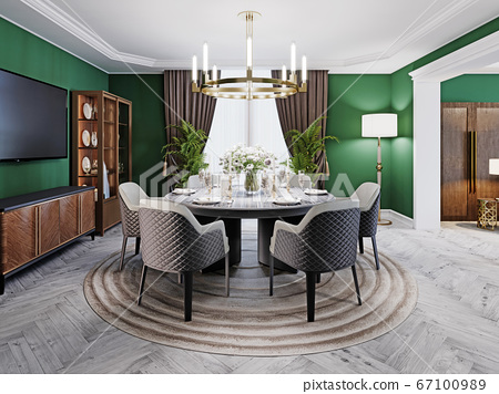 Luxurious dining room in a large house, with a 67100989