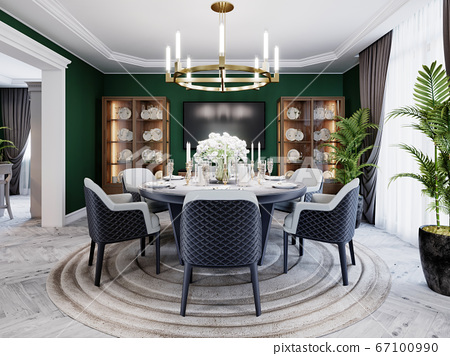 Luxurious dining room in a large house, with a 67100990