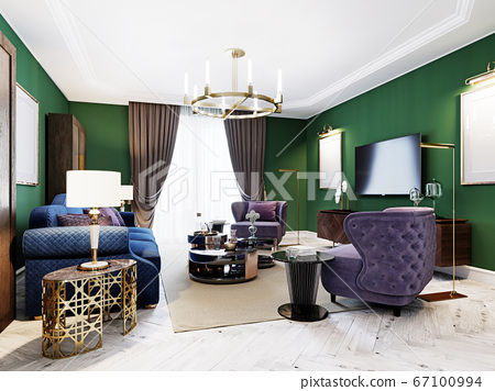Living room in art deco style with green walls and 67100994