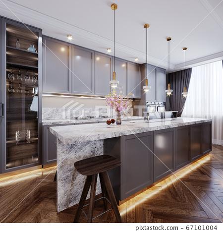 Fashionable Modern Kitchen With Gray Contemporary Stock Illustration 67101004 Pixta
