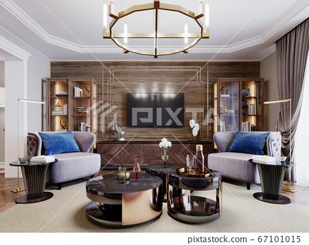 Fashionable designer living room interior in warm 67101015