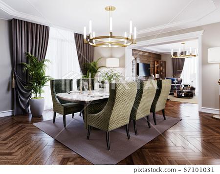Luxurious trendy dining room interior in art deco 67101031