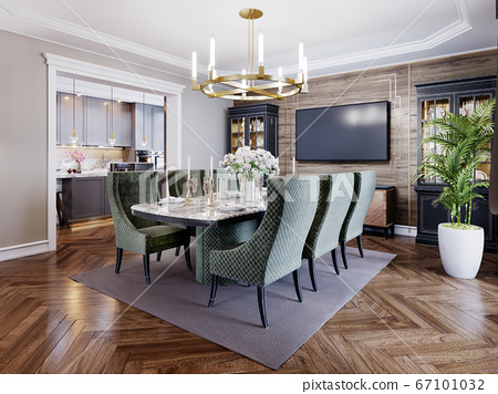 Luxurious trendy dining room interior in art deco 67101032