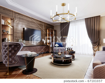 Fashionable designer living room interior in warm 67101037
