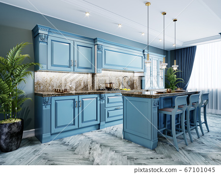 Fashionable kitchen with blue walls and blue 67101045