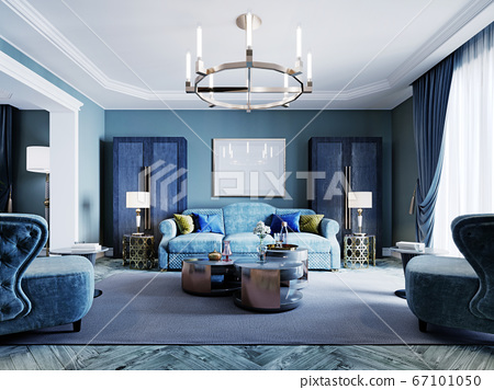 Luxurious fashionable living room in blue and 67101050