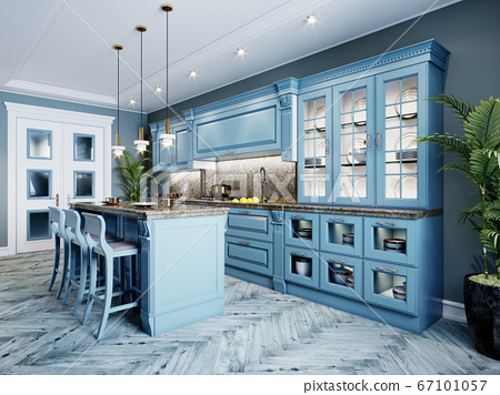 Fashionable kitchen with blue walls and blue 67101057