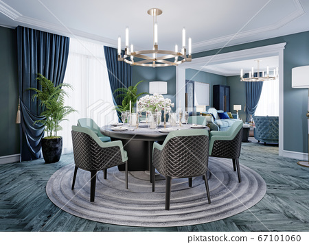 Modern luxurious dining room in blue, white and 67101060