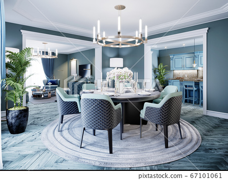Modern luxurious dining room in blue, white and 67101061
