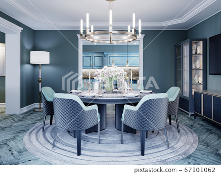 Modern luxurious dining room in blue, white and 67101062