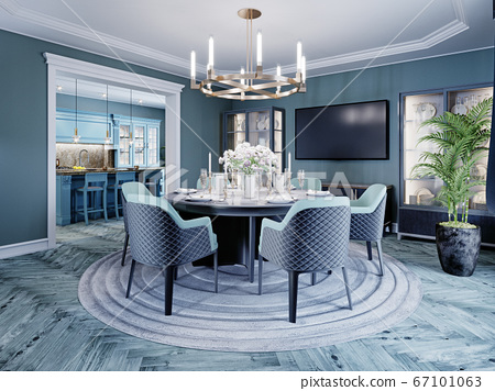 Modern luxurious dining room in blue, white and 67101063