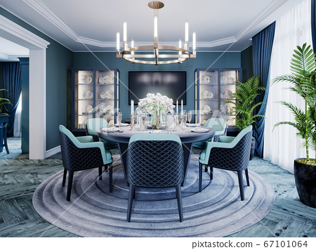 Modern luxurious dining room in blue, white and 67101064