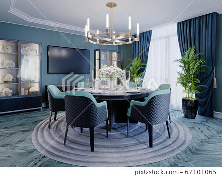 Modern luxurious dining room in blue, white and 67101065