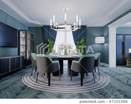 Modern luxurious dining room in blue, white and 67101066