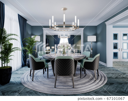 Modern luxurious dining room in blue, white and 67101067