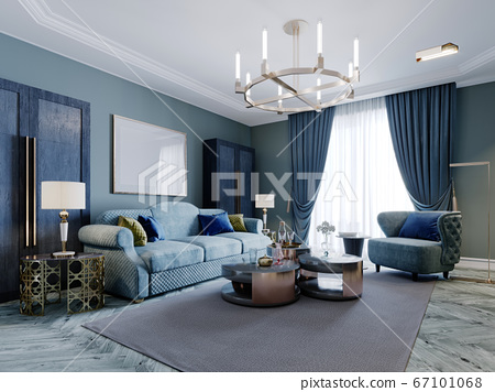 Luxurious fashionable living room in blue and 67101068
