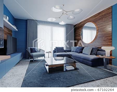 Contemporary interior studio living room in blue 67102264