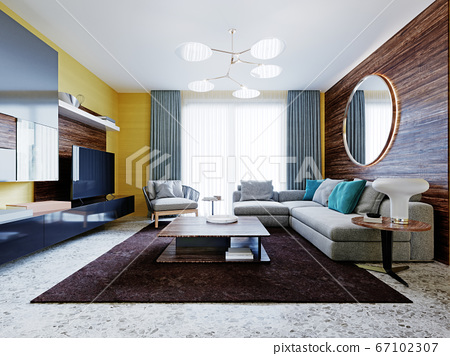 Newly designed living room with modern 67102307