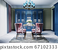 A colorful kitchen in a neoclassic style with blue 67102333