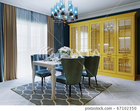 Fashionable kitchen with yellow kitchen furniture 67102350