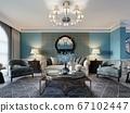 Living room interior in classic Mediterranean 67102447