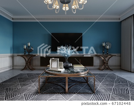 TV unit, TV set in a modern living room in a 67102448