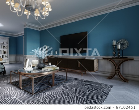 TV unit, TV set in a modern living room in a 67102451