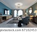 Living room interior in classic Mediterranean 67102453