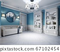 Design of a white-blue hallway with a sofa and two 67102454