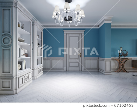 Design of a white-blue hallway with a sofa and two 67102455