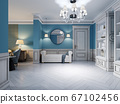 Design of a white-blue hallway with a sofa and two 67102456