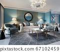 Living room interior in classic Mediterranean 67102459