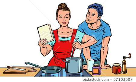 Husband and wife cook in the kitchen 67103607