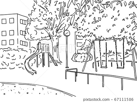 Urban park landscape drawn with a simple line drawing No people No shadow 67111586
