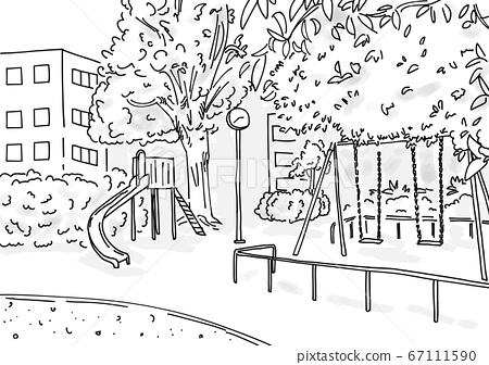 Urban park landscape drawn with a simple line drawing 67111590