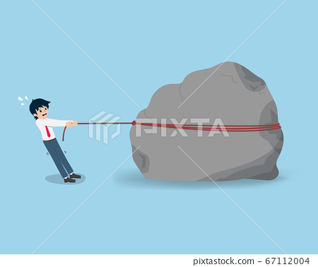 Salary Man Trying to pull a giant stone, as if it 67112004