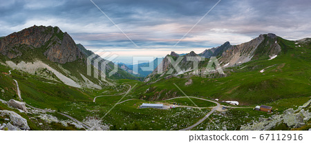 Mountain landscape on the Alps, rocky mountains at 67112916
