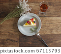 Fruit tart and table coordination overhead view 67115793