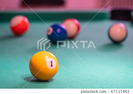 Billiard balls on table. Leisure and gambling 67115965