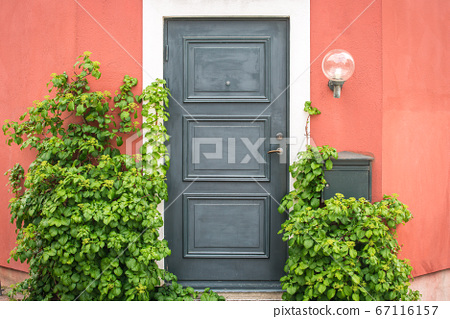Front Door and Porch of an swedish Town House 67116157