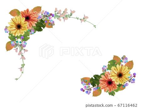 수채화 가을 꽃 프레임 67116462