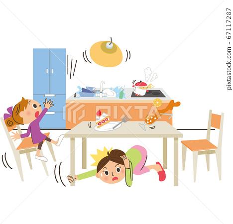 災難地震廚房餐 67117287