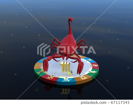 CG illustration Scorpio, a horoscope character on a stand that represents four attributes 67117345