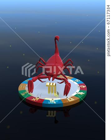 CG 일러스트 4 개의 특성을 나타내는 대에 탄 운세 캐릭터 전갈 자리 67117384
