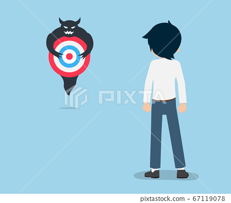 Salary Man Ready to fight Devil holding a target 67119078