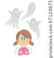 害怕鬼魂的孩子的插圖圖像 67120675